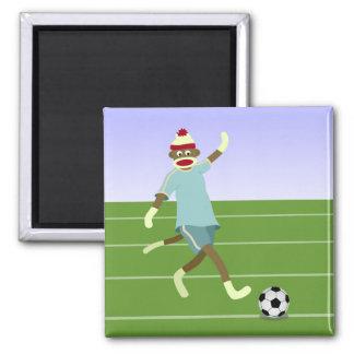 Sock Monkey Soccer Player 2 Inch Square Magnet