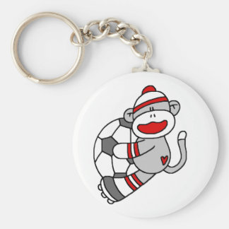 Sock Monkey Soccer T shirts and Gifts Basic Round Button Keychain
