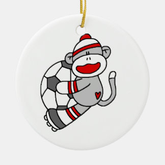 Sock Monkey Soccer T shirts and Gifts Ceramic Ornament