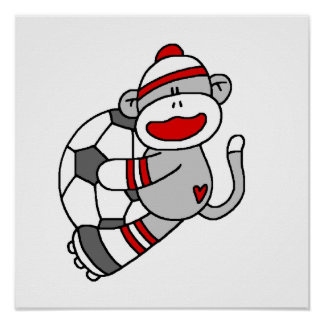 Sock Monkey Soccer T shirts and Gifts Poster