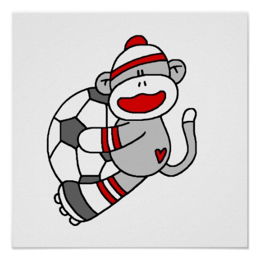 Sock Monkey Soccer T shirts and Gifts Print