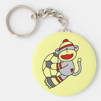 Sock Monkey Soccer Tshirts and Gifts Keychain