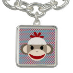Sock Monkey square silver charm bracelet