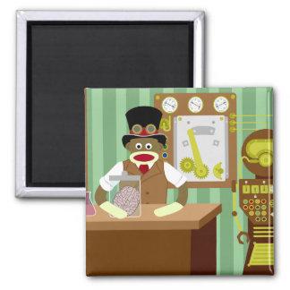 Sock Monkey Steampunk Scientist 2 Inch Square Magnet