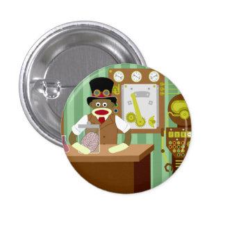 Sock Monkey Steampunk Scientist Button