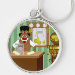 Sock Monkey Steampunk Scientist Silver-Colored Round Keychain