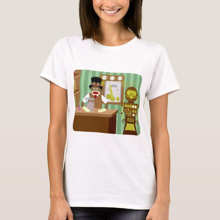 Sock Monkey Steampunk Scientist T-Shirt