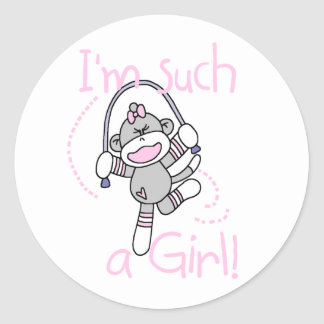 Sock Monkey Such a Girl Classic Round Sticker