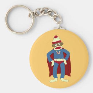 Sock Monkey Superhero Basic Round Button Keychain