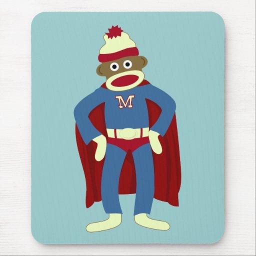 Sock Monkey Superhero Mousepads