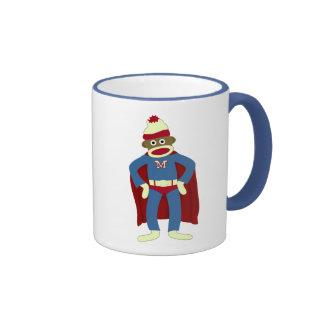 Sock Monkey Superhero Ringer Mug