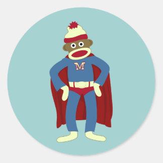 Sock Monkey Superhero Round Sticker