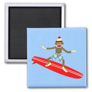 Sock Monkey Surfer 2 Inch Square Magnet