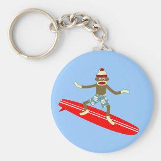 Sock Monkey Surfer Basic Round Button Keychain