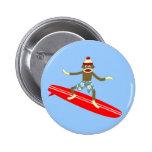 Sock Monkey Surfer Button