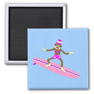 Sock Monkey Surfer Girl 2 Inch Square Magnet