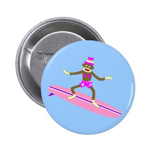 Sock Monkey Surfer Girl Button