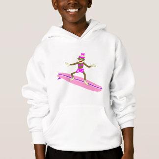 Sock Monkey Surfer Girl Hoodie