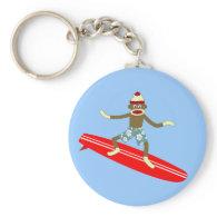 Sock Monkey Surfer Key Chain