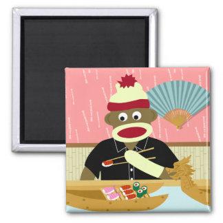 Sock Monkey Sushi 2 Inch Square Magnet