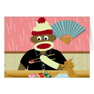 Sock Monkey Sushi Greeting Cards