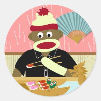 Sock Monkey Sushi Classic Round Sticker