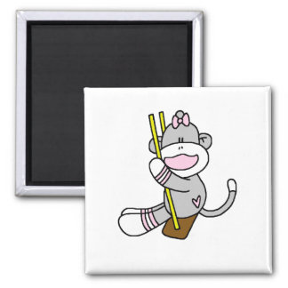 Sock Monkey Swinging T-shirts and Gifts 2 Inch Square Magnet