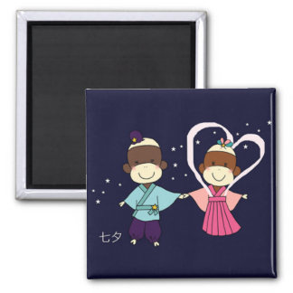 Sock Monkey Tanabata Magnet(Square) 2 Inch Square Magnet