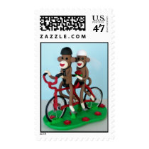 Sock Monkey Tandem Bike Newlyweds Postage