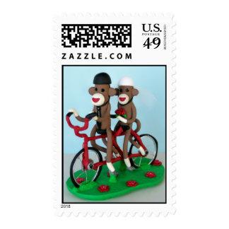 Sock Monkey Tandem Bike Newlyweds Postage Stamp