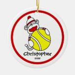 "Sock Monkey Tennis Boy""s Christmas Ornament"