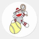 Sock Monkey Tennis Classic Round Sticker