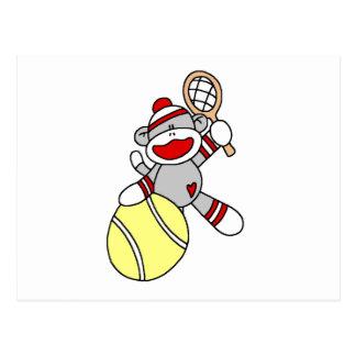 Sock Monkey Tennis Tshirts and Gifts Postcard