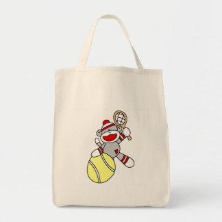 Sock Monkey Tennis Tshirts and Gifts Tote Bag