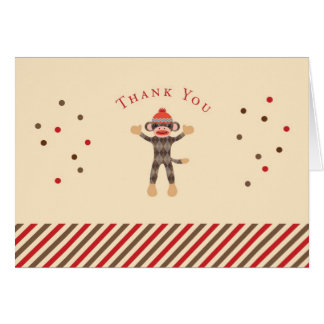 Sock Monkey Thank You Card