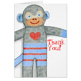 Sock Monkey Thank You Note Card