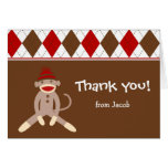 Sock Monkey Thank you note cards