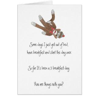 Sock Monkey Thinking of You Card