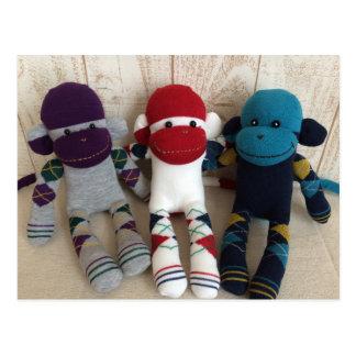 Sock Monkey Three Argyle Brothers Postcard