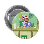 Sock Monkey Tiki Bar 2 Inch Round Button