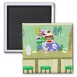 Sock Monkey Tiki Bar 2 Inch Square Magnet