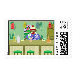 Sock Monkey Tiki Bar Postage Stamp