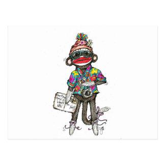 Sock Monkey Tourist Post Card