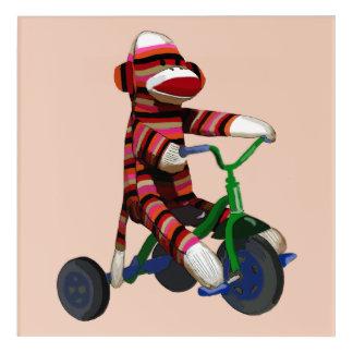 Sock Monkey Tricycle Acrylic Wall Art