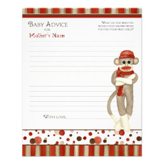 Sock Monkey, Tricycle, Boy Baby Shower Advice Full Color Flyer