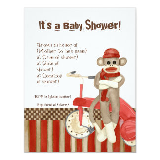 Sock Monkey, Tricycle, Boy Baby Shower Invitation