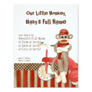 Sock Monkey, Tricycle, Boy Birth Announcement