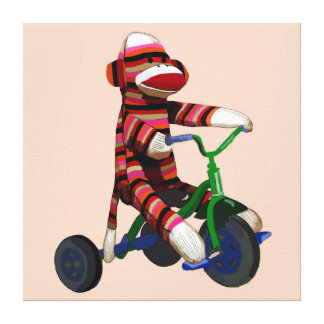 Sock Monkey Tricycle Canvas Print