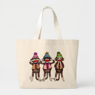 Sock Monkey Trio - See, Hear, Speak No Evil Large Tote Bag