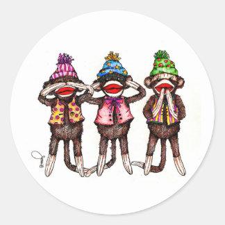 Sock Monkey Trio - See, Hear, Speak No Evil Round Sticker